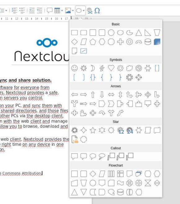 Collabora Online 4 macht das Einfügen von Formen einfacher