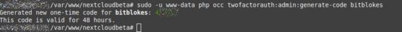 Einmal-Code generiert, der 48 Stunden gültig ist