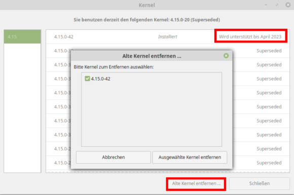 Alte Kernel bei Linux Mint 19.1 entfernen