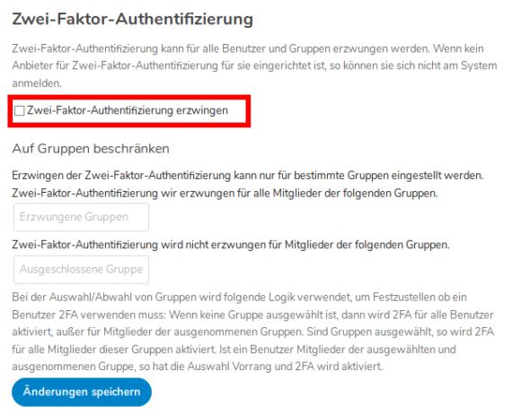 Zweifaktor-Authentifizierung (2FA) erzwingen