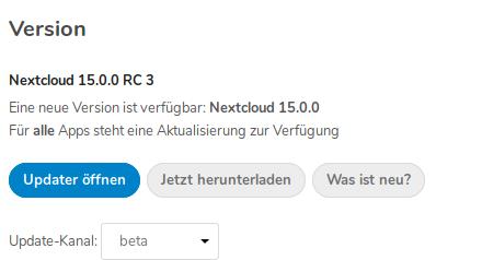 Nextcloud 15 ist ab sofort verfügbar - über den Kanal Beta