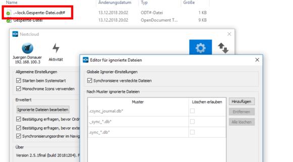 Die versteckte Lock-Datei wurde in die Nextcloud hochgeladen!