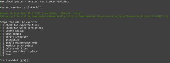 Auch via Kommandozeile lässt sich Start update bei der Nextcloud ausführen