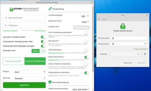 Linux Mint 19.1 PIA Client & Manager Vergleich