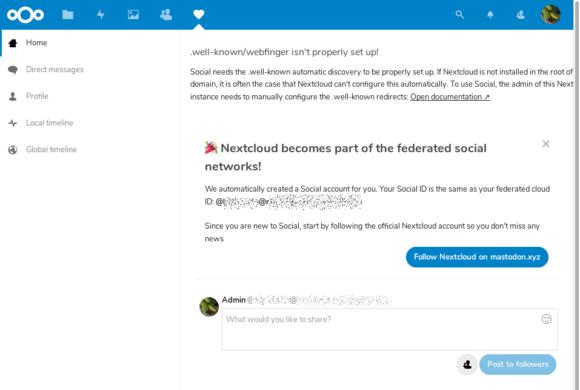 Nextcloud 15 und Social