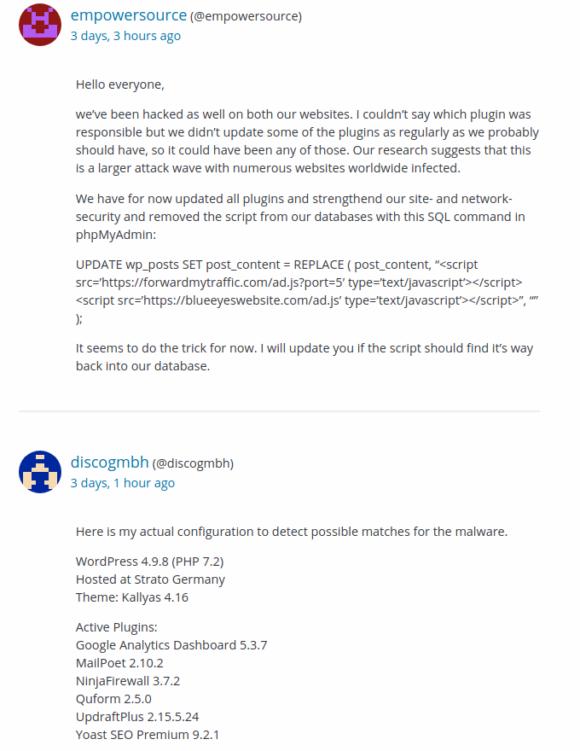 Auch hier gab es Probleme mit einem Hack und einer Umleitung auf blueeyeswebsite.com