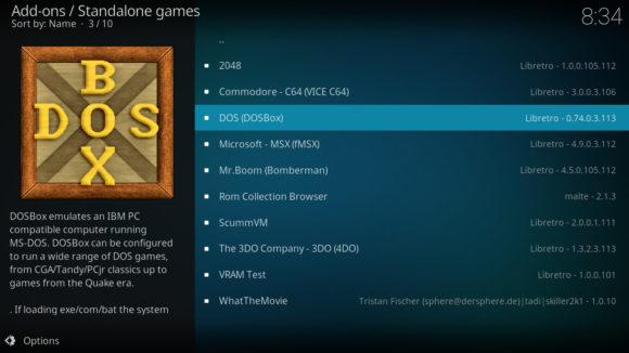 Das System bietet viele Emulatoren für Retro Gaming an