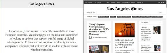 Die LA Times lässt sich in Deutschland schon lesen, aber nur mit VPN - Schuld ist die DSGVO