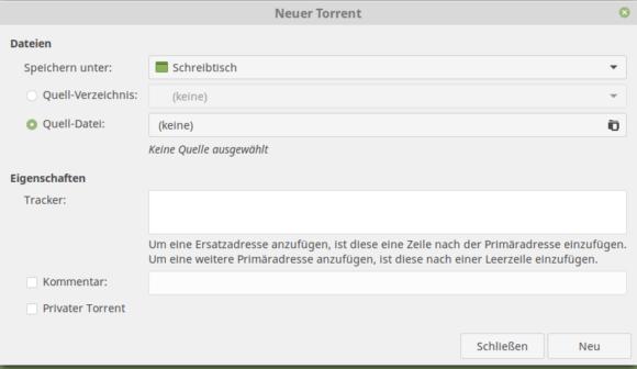 Neuen Torrent erstellen