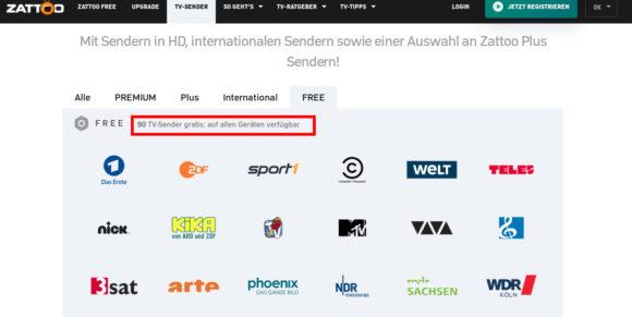 90 Sender habe ich in Deutschland via Zattoo FREE