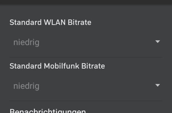 In der mobilen App von Zattoo kannst Du die Bitrage einstellen