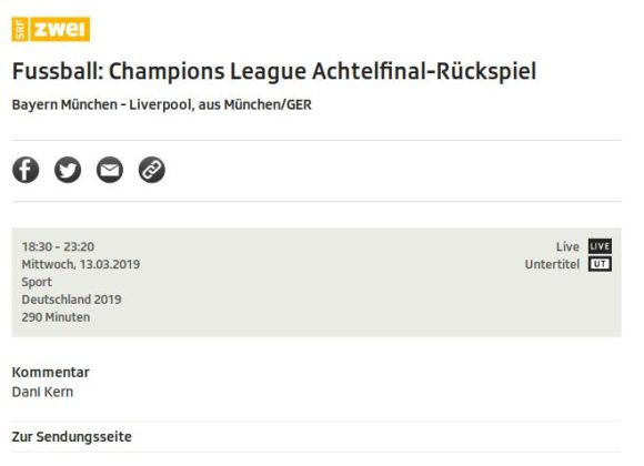 Bayern München gegen Liverpool wird auf SRF2 übertragen, Manchester City gegen Schalke 04 (ManC vs S04) hingegen nicht