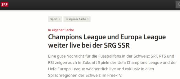 UEFA Champions League und Europa League weiterhin im Schweizer Free-TV