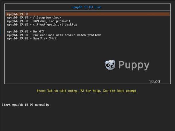 Puppy Linux 8.0 BionicPup: Bootmenü