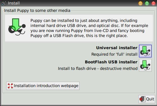 Installation von Puppy Linux auch auf USB-Stick möglich