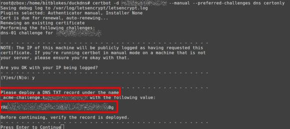 Wert für den DNS TXT Record