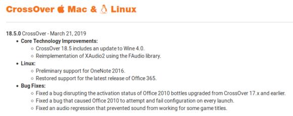 CrossOver 18.5.0 basiert auf Wine 4.0