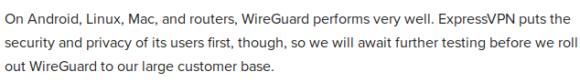 ExpressVPN behält WireGuard im Auge, wird sich aber Zeit lassen