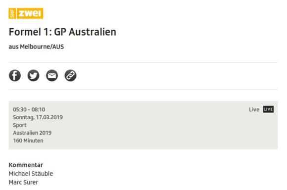 SRF überträgt die Formel 1: Großer Preis von Australien