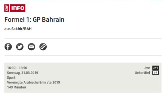 Großer Preis von Bahrain: Formel 1 via SRF - so gut wie werbefrei