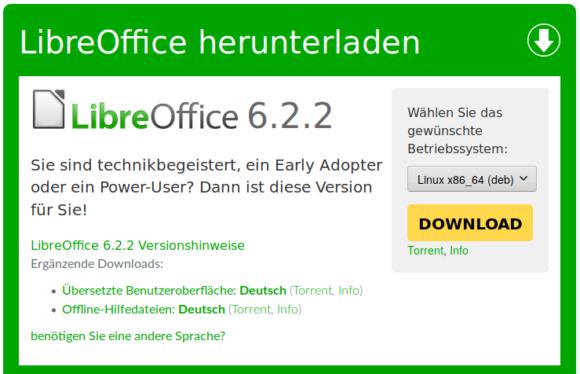 LibreOffice 6.2.2 steht zum Download bereit