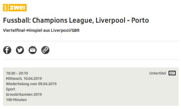 Liverpool - Porto als Wiederholung