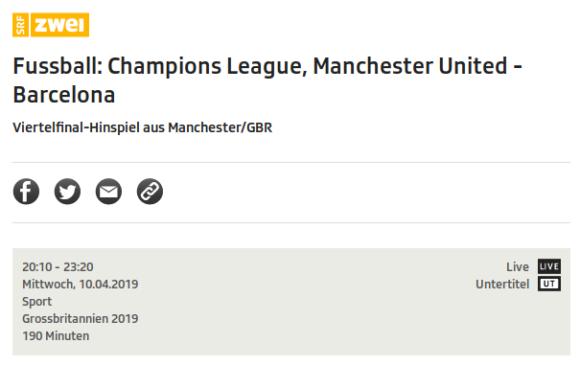 Manu gegen Barca (Manchester United - Barcelona) live und kostenlos auf SRF2