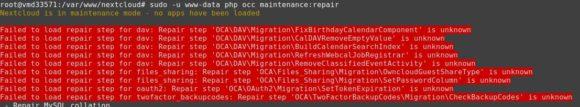 maintenance:repair bei der Nextcloud bringt viele Fehlermeldungen