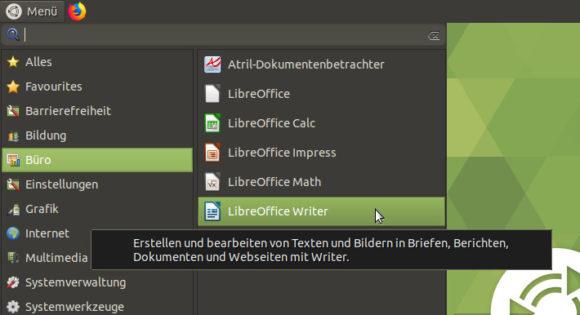 Auch LibreOffice ist dabei