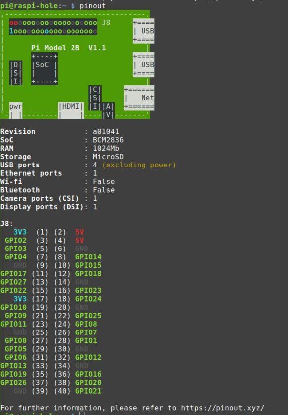 pinout klappt nach der Installation von python3-gpiozero