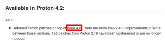 Steam Play mit Proton 4.2, beziehungsweise Wine 4.2