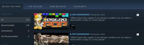 derzeit werden offiziell 134 Spiele von Steam Play unterstützt