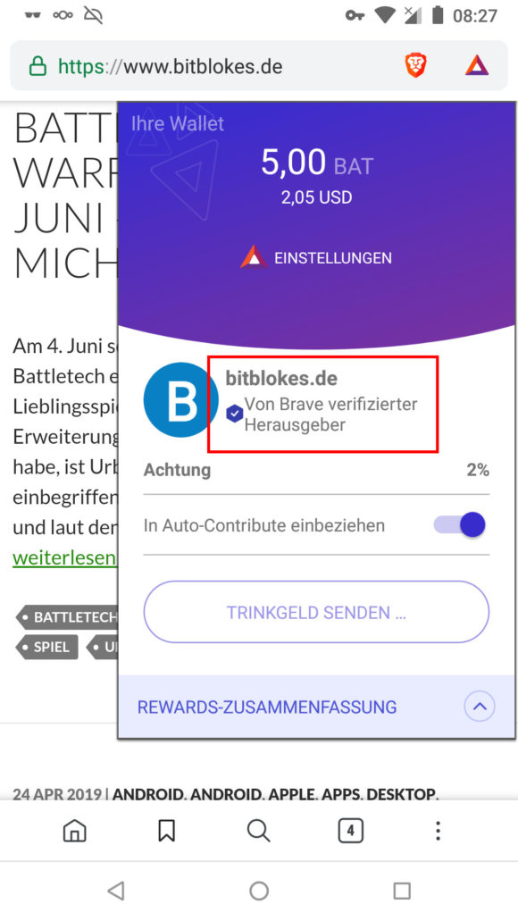 Brave Rewards unter Android