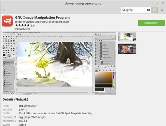 GIMP 2.10.10 ist als Flatpak verfügbar