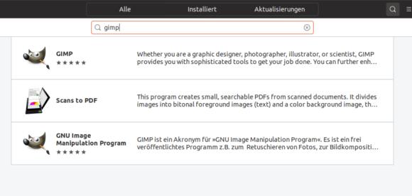 GIMP bei Ubuntu 19.04 installieren - was ist was?