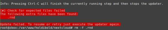 Will nicht upgraden, .rnd-Datei gefunden