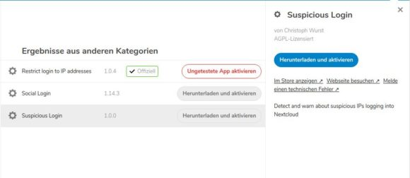 Nextcloud 16: Suspicious Login App
