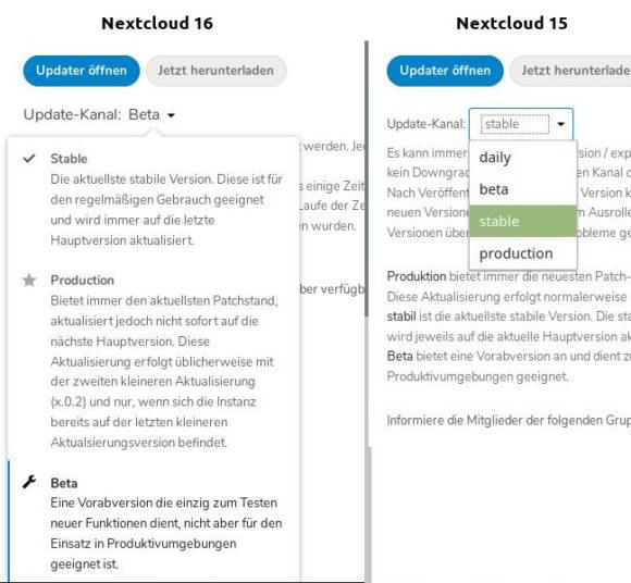 Nextcloud 16 erklärt den Update-Kanal