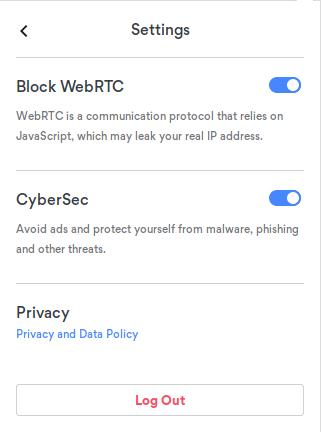 CyberSec im Browser aktivieren und WebRTC deaktivieren