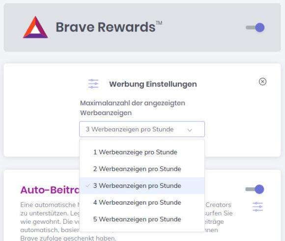 Brave Rewards: Wie viel Werbungen pro Stunde