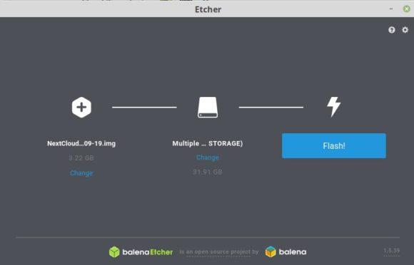 NextCloudPimit Etcher installieren