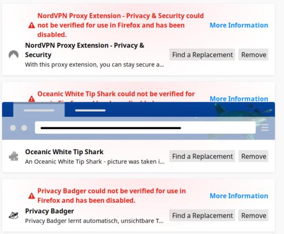 Firefox Add-ons funktionieren nicht mehr