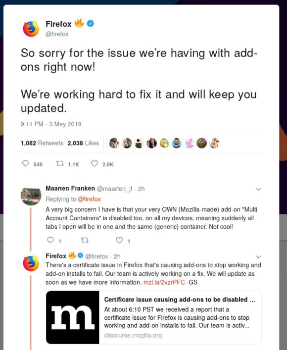 Firefox-Entwickler bestätigen das Problem auf Twitter