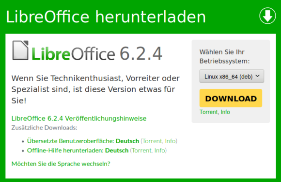 LibreOffice 6.2.4 ist verfügbar