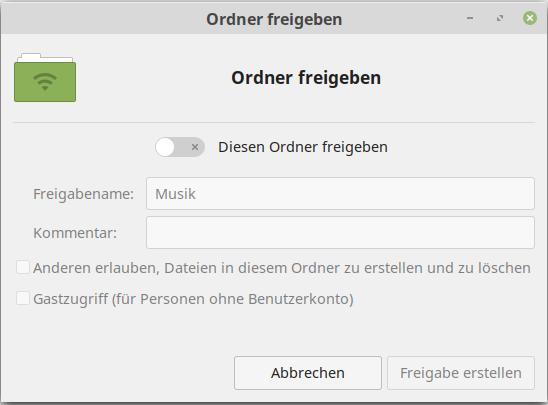 Ordner in Linux Mint einfach via nemo-share teilen