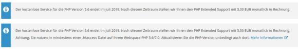 PHP Extended Support für PHP 5.6 kostet ab Mitte Juli - irgendeine .htaccess benutzt es noch