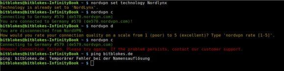Trenne ich die WireGuard-VPN-Verbindung von NordLynx gibt es ein Problem mit der DNS-Auflösung