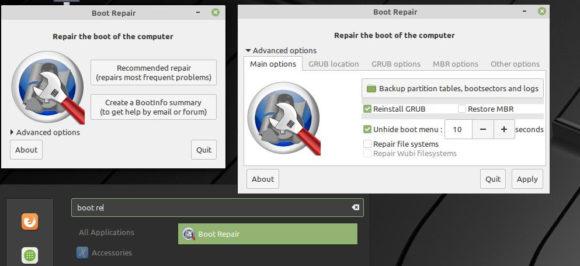 Boot Repair Tool auf dem ISO-Abbild von Linux Mint 19.2 Tina