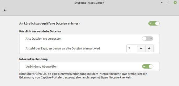 Datenschutzeinstellungen bei Linux Mint 19.2 Tina