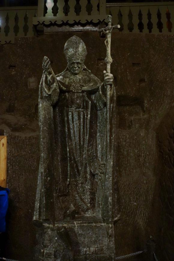 Johannes Paul II. im Salzbergwerk